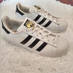 Adidas Superstar White Black Sneakers Gold Print